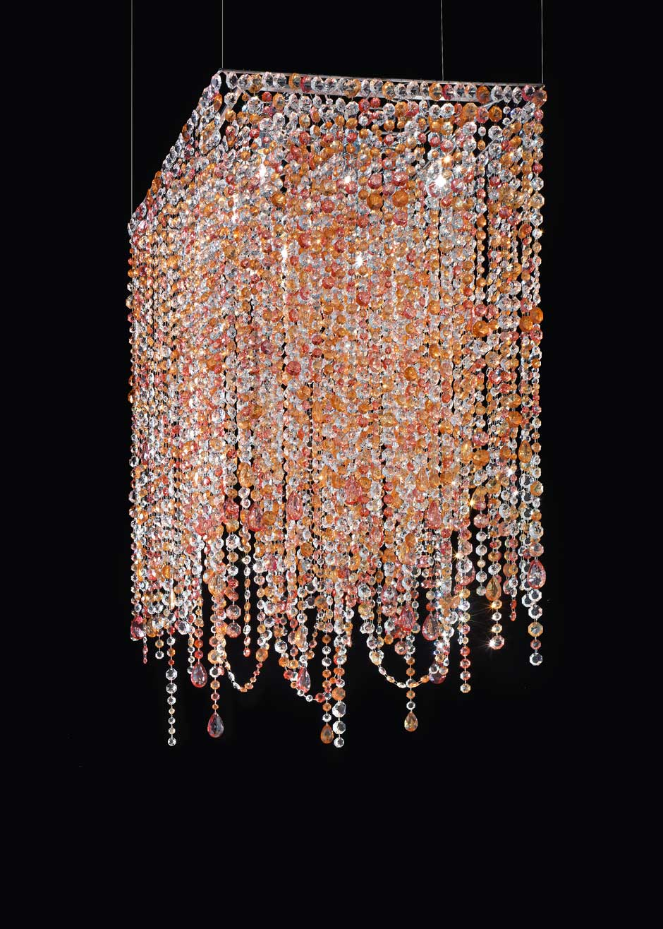 Square Pink And Orange Crystal Chandelier Masiero Murano And - Orange chandelier crystals