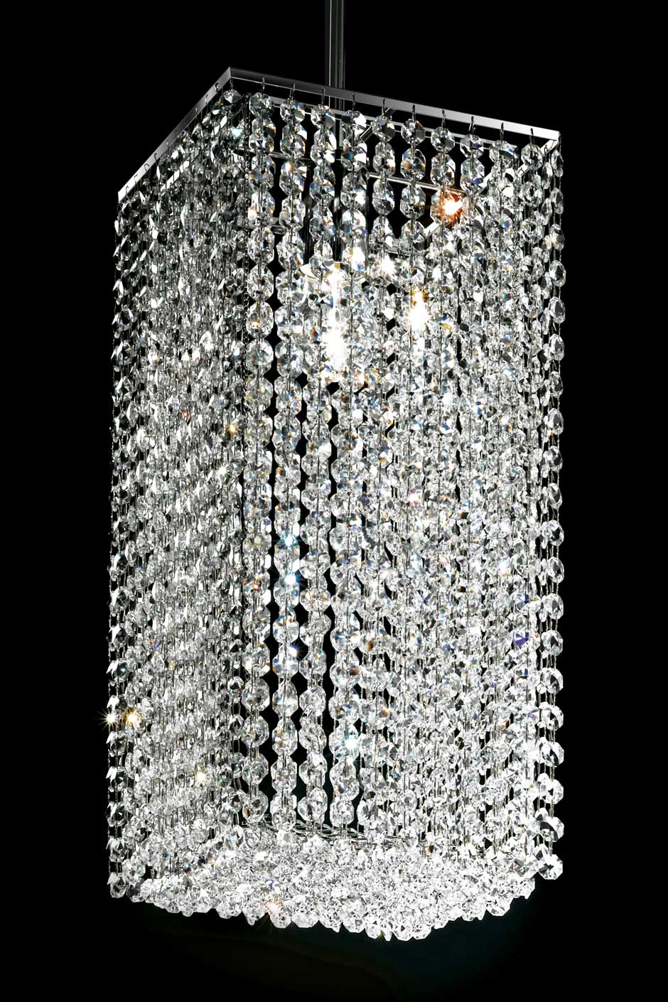Square Section Designer Crystal Chandelier Masiero