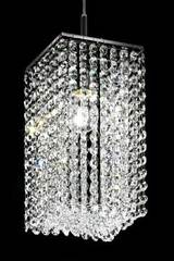 Square-section designer crystal chandelier. Masiero.