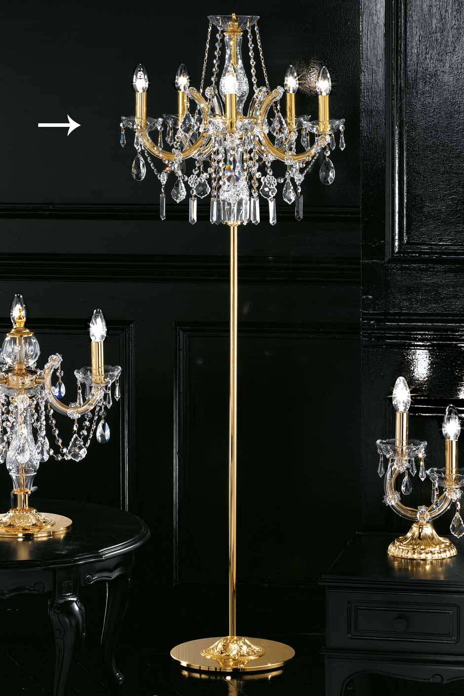 5 light candelabra style standard lamp in gold plated metal and clear crystal