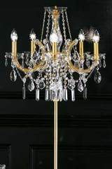 Crystal and gold-plated-metal candelabra standard lamp . Masiero.