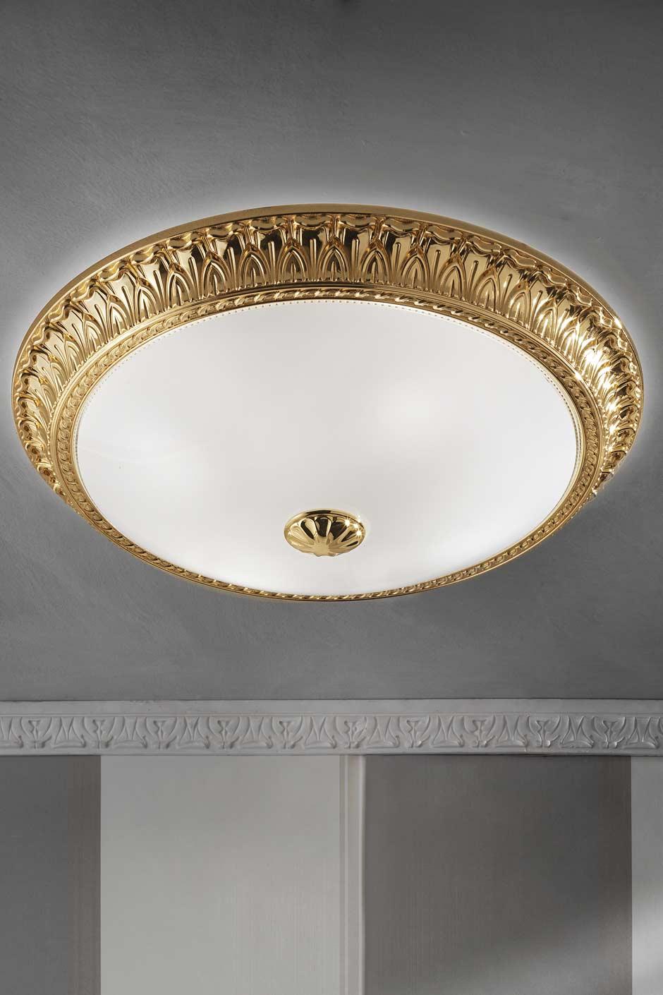 grand plafonnier rond bronze dor motif festons masiero. Black Bedroom Furniture Sets. Home Design Ideas