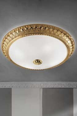 Grand plafonnier rond bronze doré motif festons. Masiero.