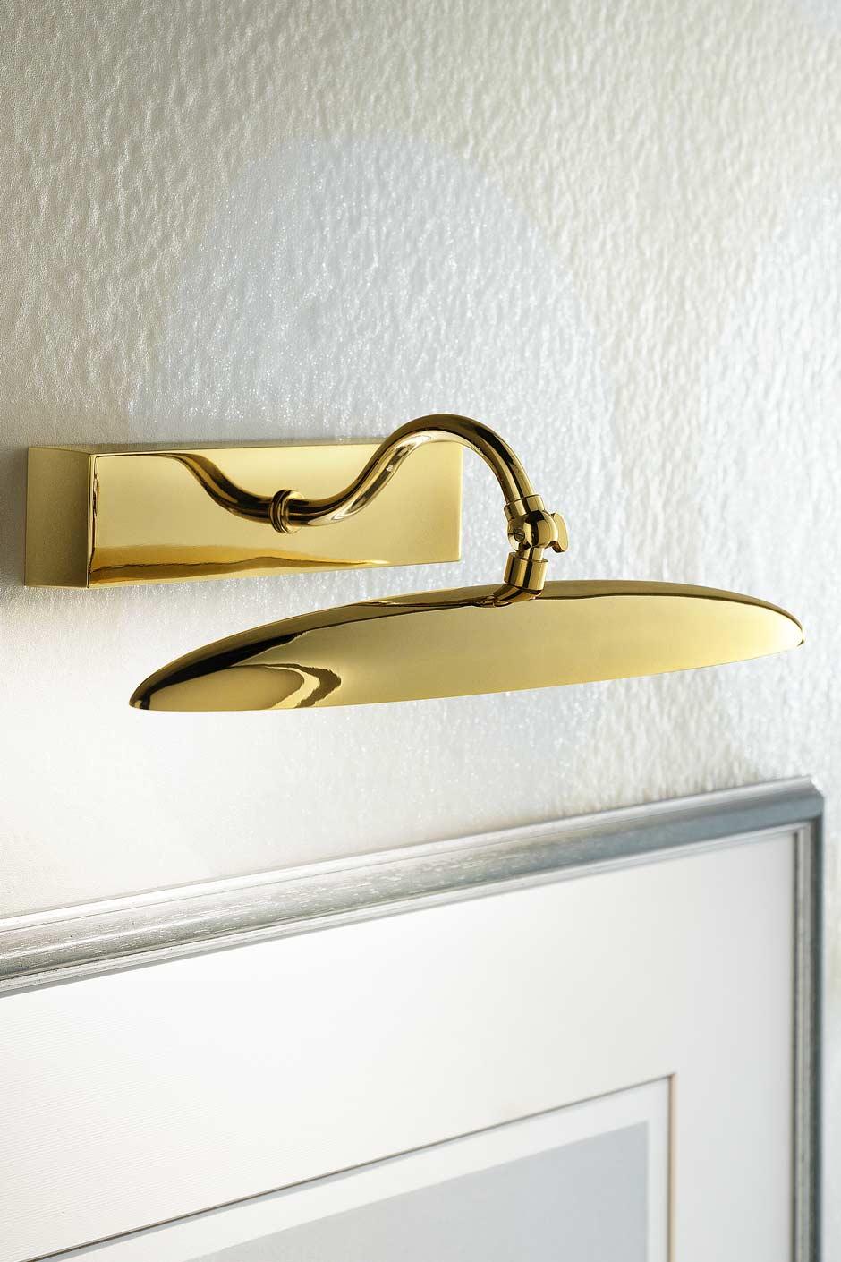 Grande applique pour tableau LED elliptique dorée polie. Masiero.