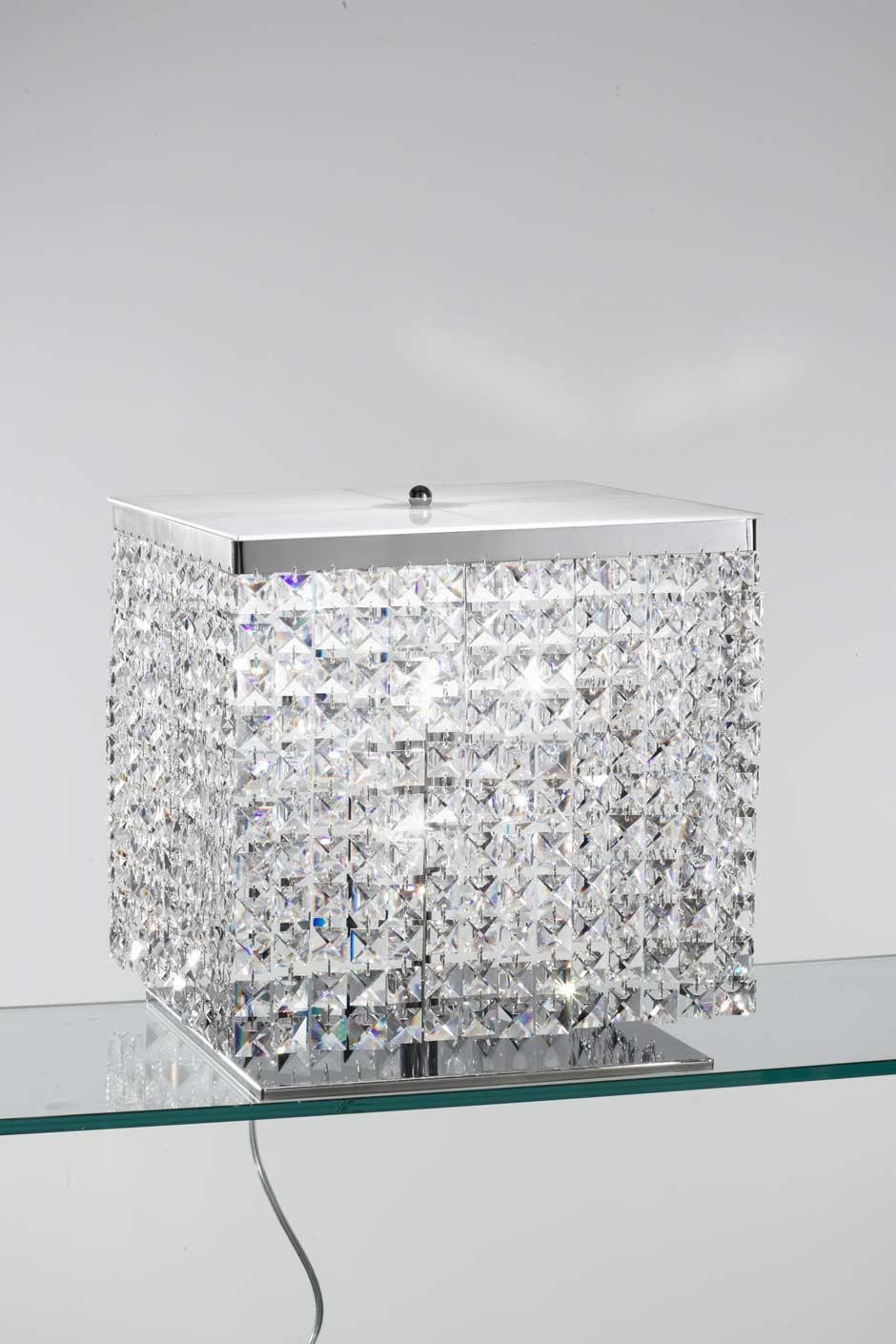 Grande lampe cristal chromée cubique. Masiero.