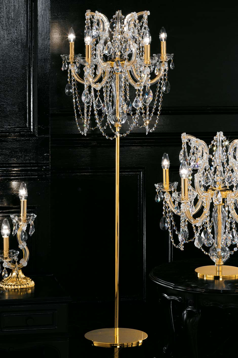 lampadaire bougeoir cristal et m tal dor masiero. Black Bedroom Furniture Sets. Home Design Ideas