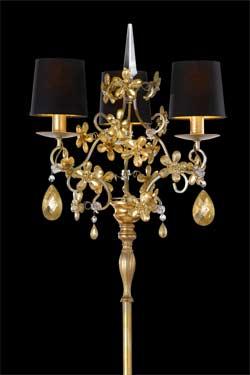 Lampadaire doré et cristal fleurs feuille d'or trois lumières. Masiero.