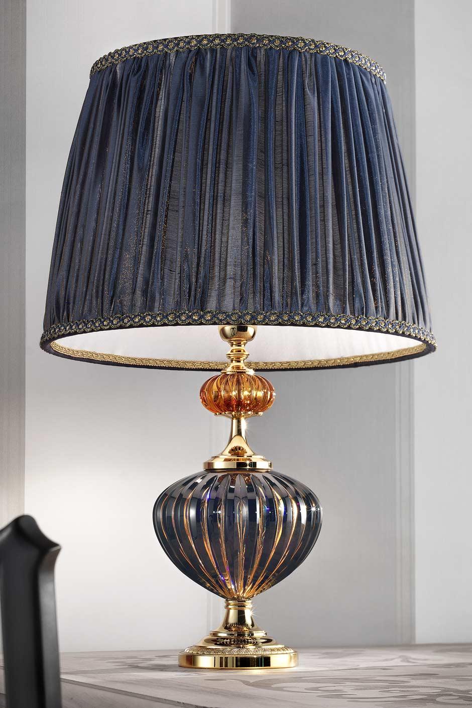Lampe bleu foncé et doré verre Murano. Masiero.