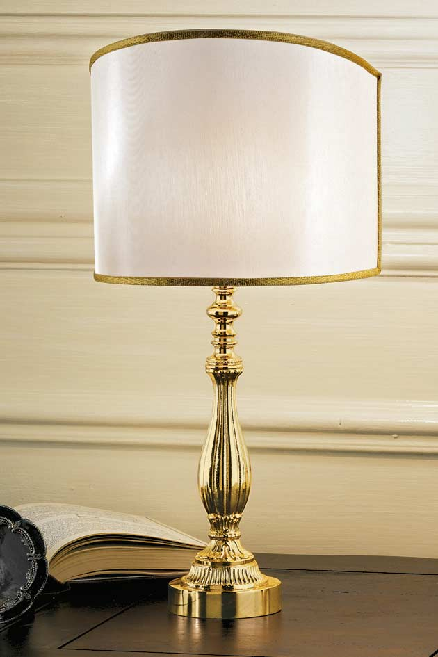 Lampe bronze doré abat-jour beige clair. Masiero.