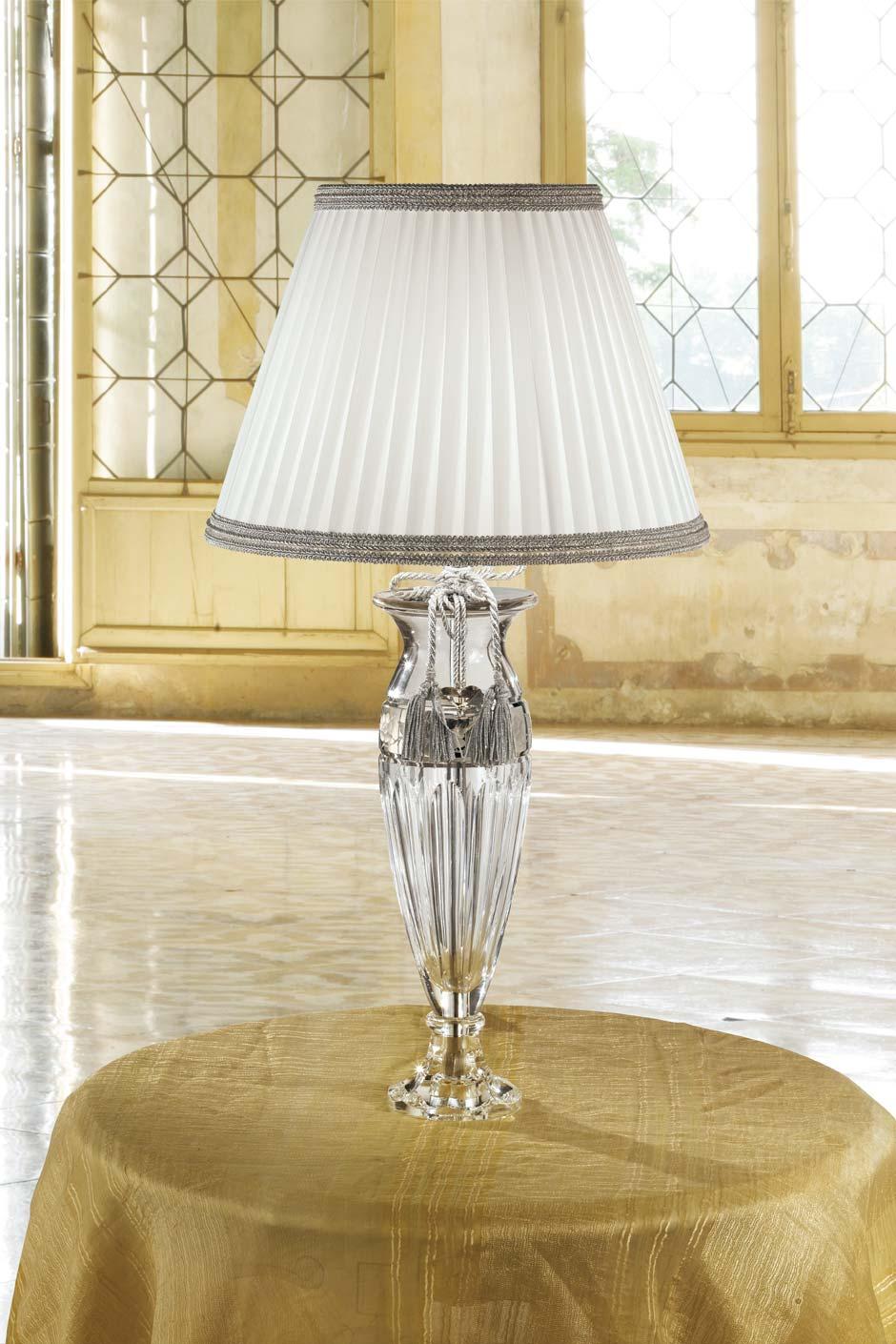 Lampe cristal transparent gravé tissu blanc et gris. Masiero.