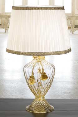 Lampe dorée verre Murano. Masiero.