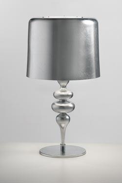 Lampe Eva résine et polyuréthane argent. Masiero.