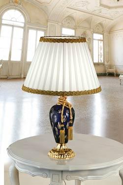 Lampe Ottocento cristal bleu et doré abat-jour blanc soie. Masiero.
