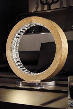 Lampe ronde en chêne massif et cristal Libe TL 40. Masiero.