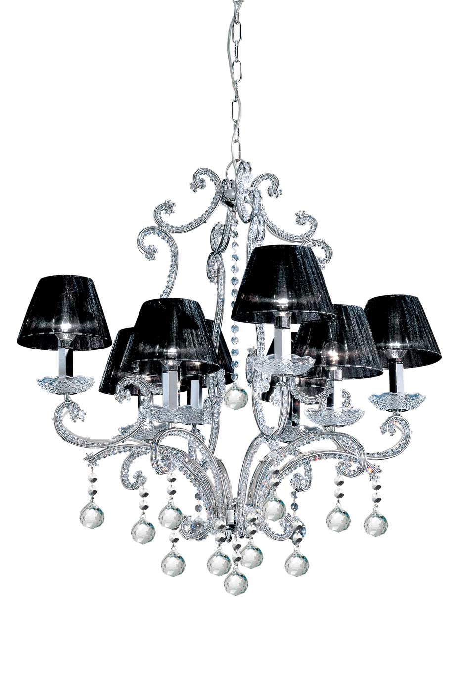 8 light chrome and crystal chandelier with black silk shades 8 light chrome and crystal chandelier with black silk shades masiero arubaitofo Images