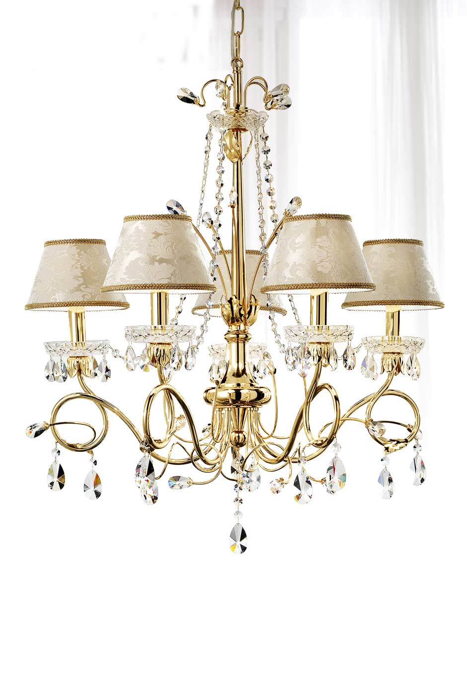 5 light gold and crystal chandelier with silk and damask satin 5 light gold and crystal chandelier with silk and damask satin masiero aloadofball Gallery