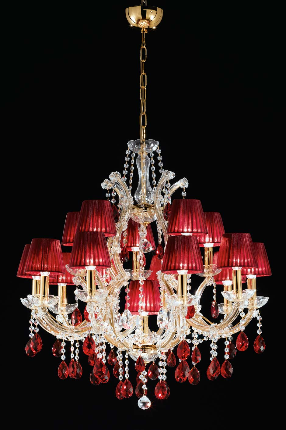 Red Chandelier Wall Lights : Red and gold 16-light crystal chandelier Masiero Murano and crystal chandeliers, lamps and ...
