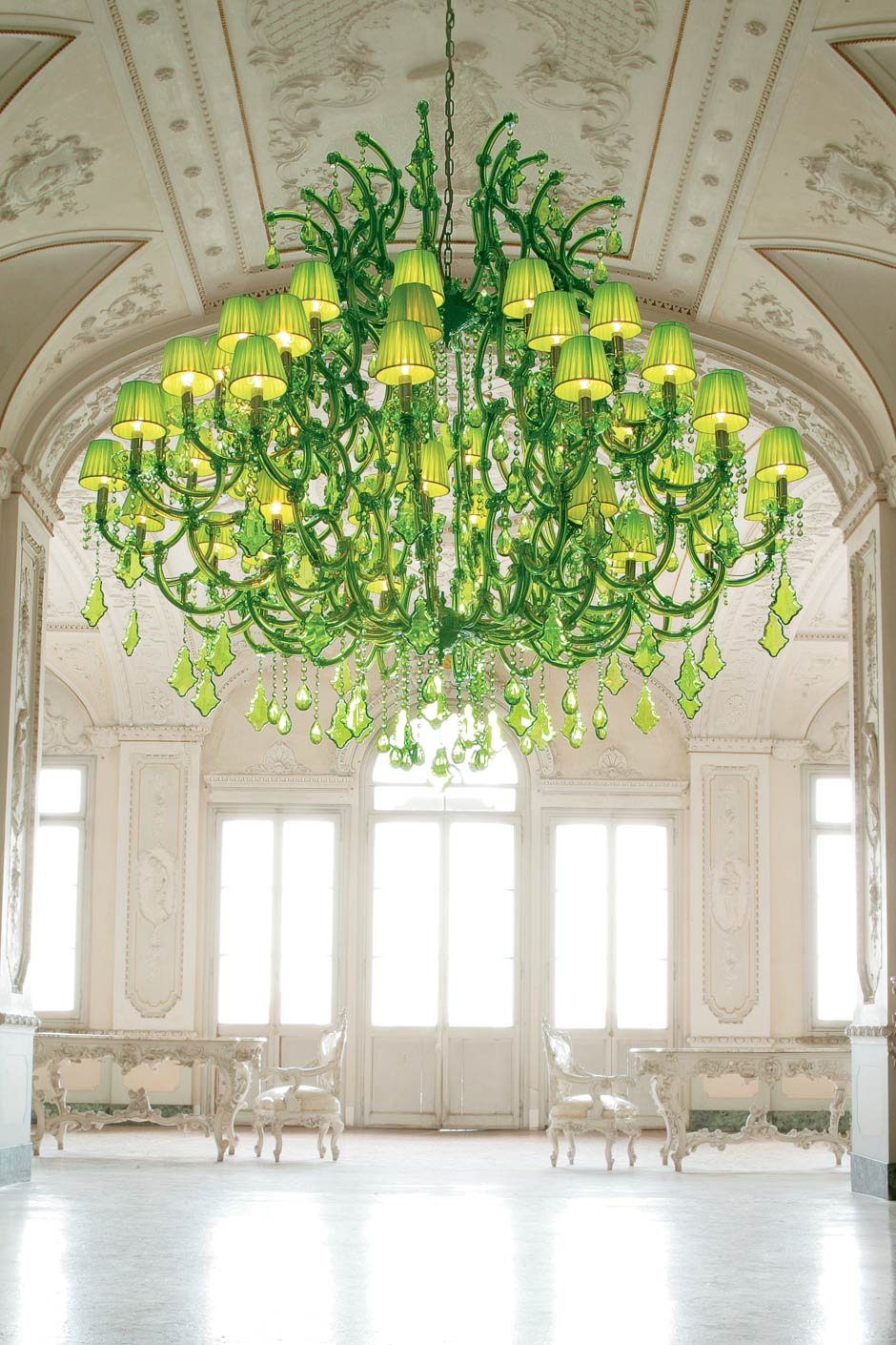 Green crystal chandelier | Masiero | Murano and crystal ...