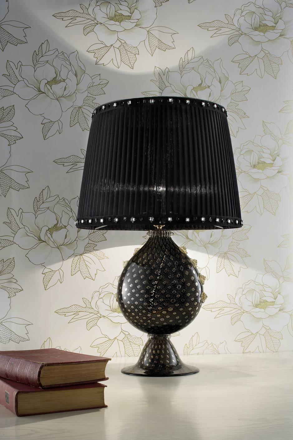 Black murano table lamp with black silk organza shade masiero black murano table lamp with black silk organza shade masiero aloadofball Image collections