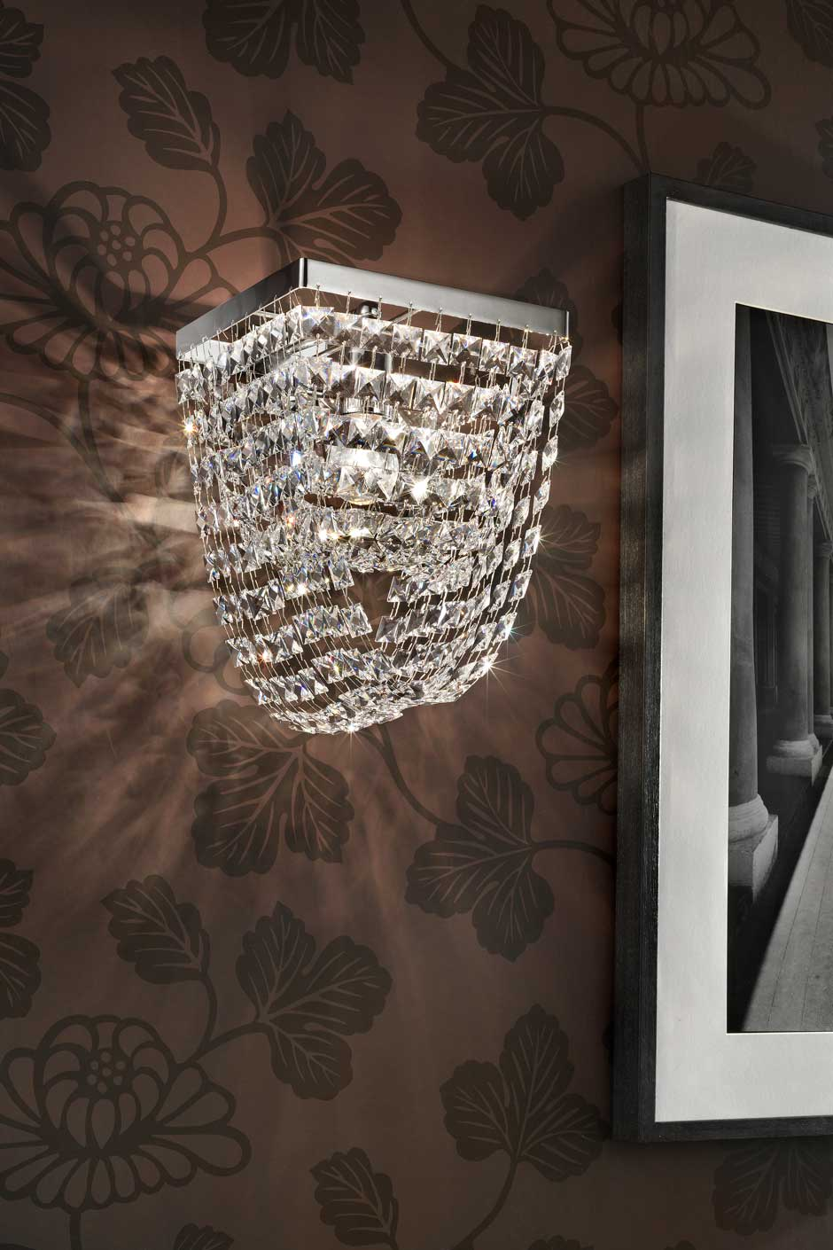 Small double-draped square crystal wall light Masiero Murano and crystal chandeliers, lamps ...