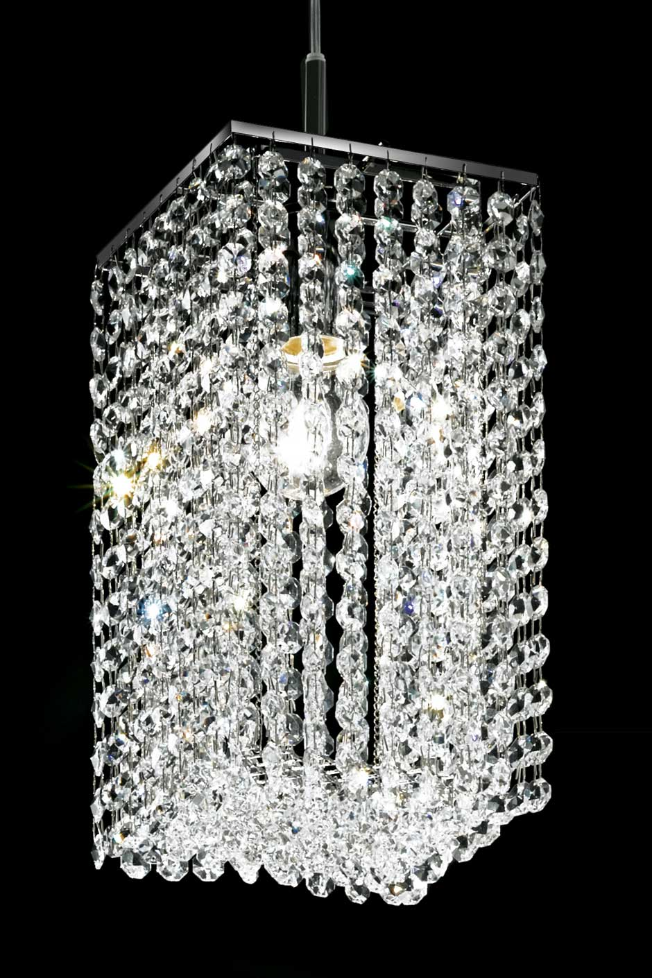 Lustre cristal design bo te section carr e masiero for Lampe de chevet en cristal