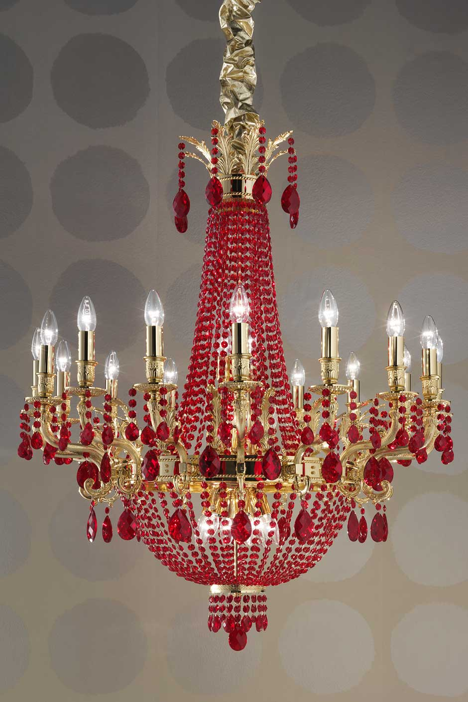 Red Chandelier Wall Lights : Red 24-light crystal chandelier Masiero Murano and crystal chandeliers, lamps and wall ...