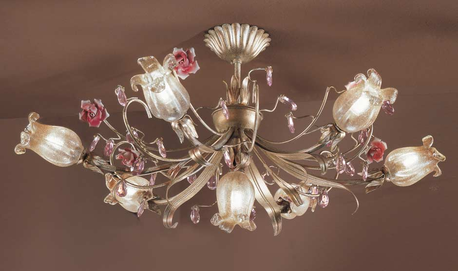 Cream and gold 7-light ceiling light with crystal and white glass flowers .  Masiero