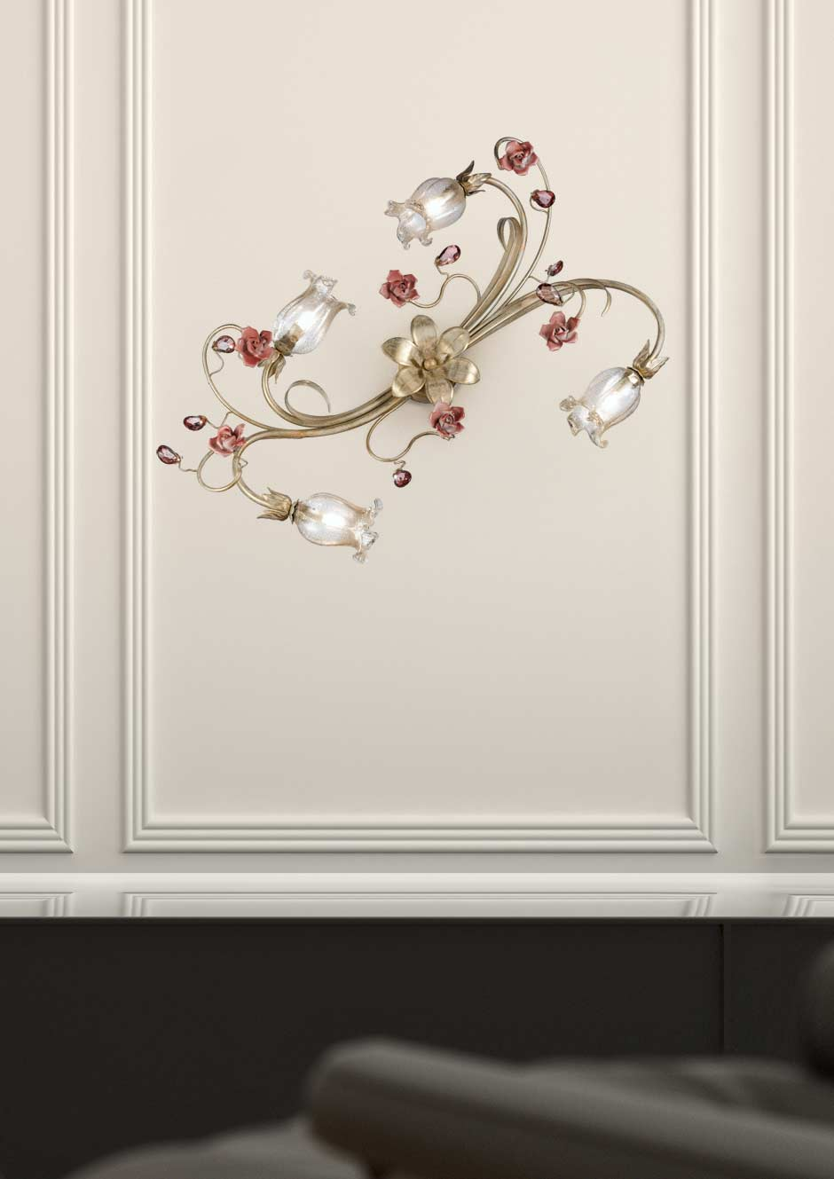 Cream and gold 4-light wall light with crystal and white glass flowers Masiero Murano and ...