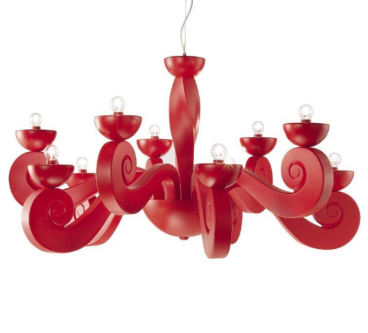 Lustre Contemporain : lustre contemporain rouge en volutes botero 10 lumi res ~ Nature-et-papiers.com Idées de Décoration