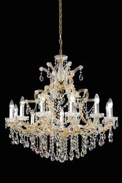 Lustre cristal de Bohème et métal doré 13 lumières. Masiero.