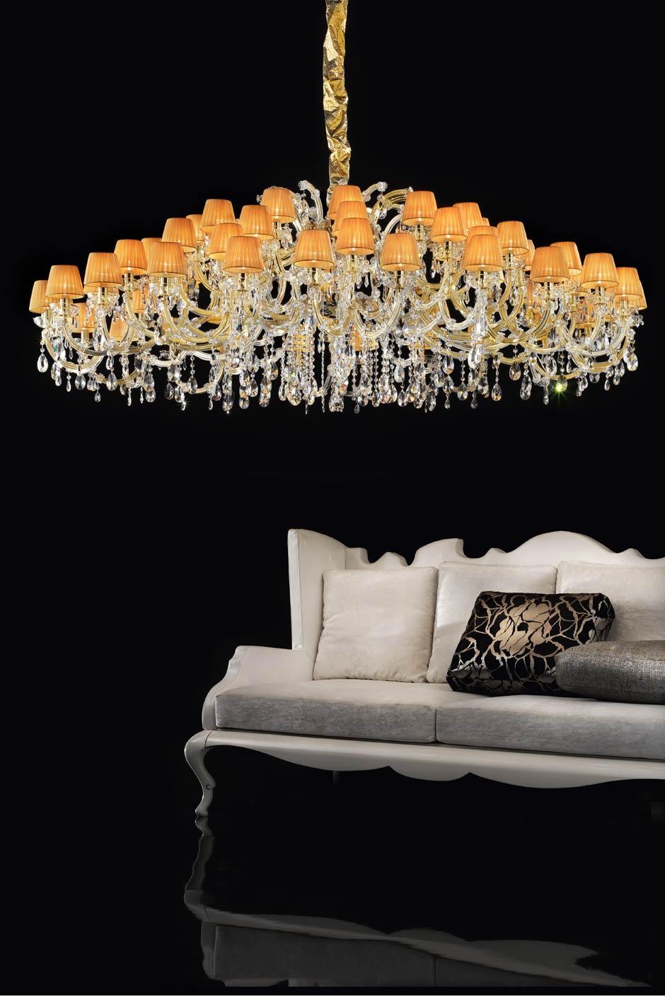 Lustre cristal luxe orange et doré en cristal . Masiero.