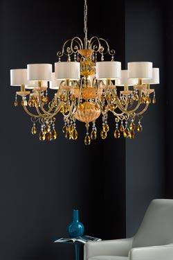 Lustre cristal orange et métal doré antique 10 lumières. Masiero.