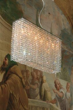 Lustre cristal pampilles forme rectangulaire transparent. Masiero.