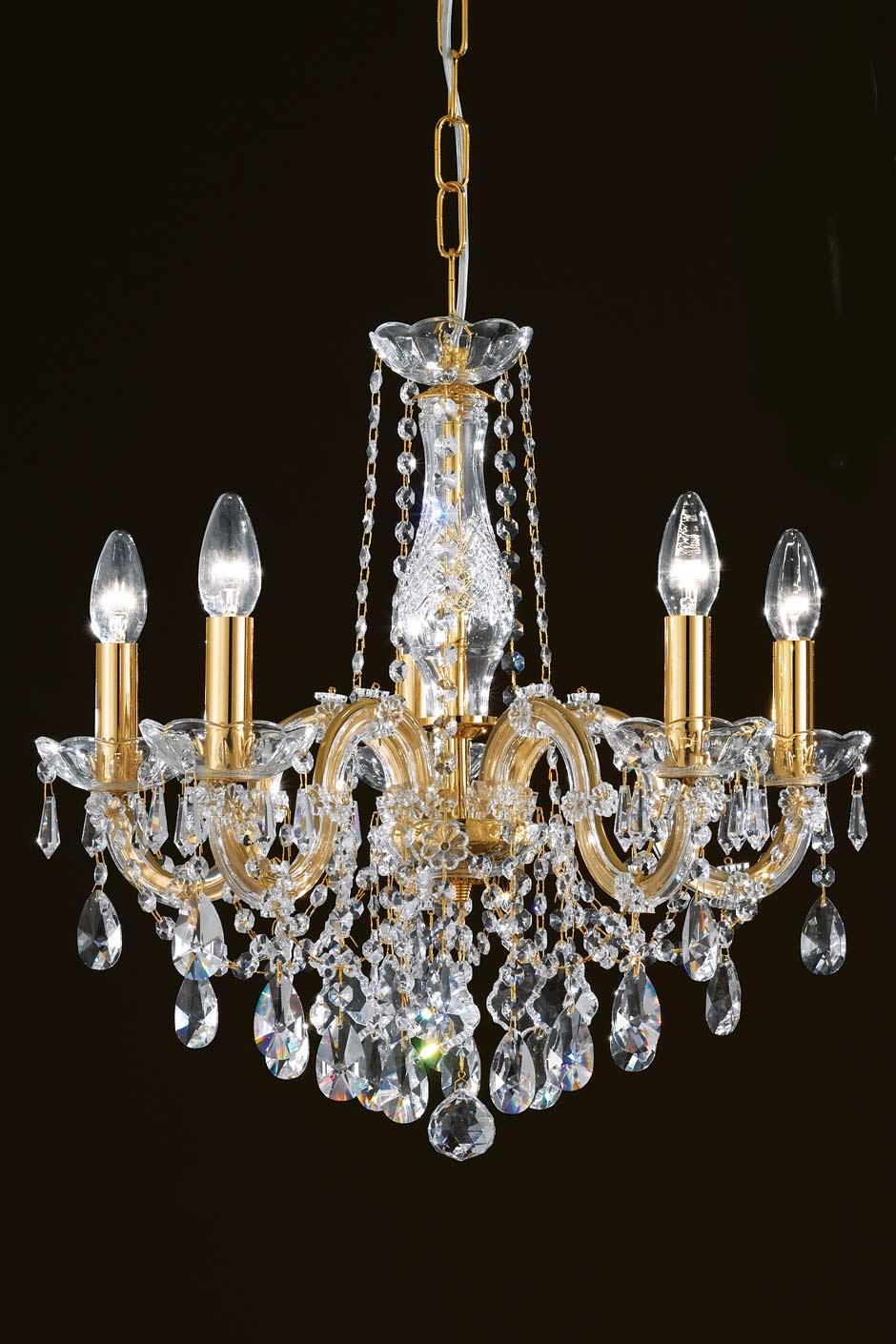 Lustre cristal transparent et métal doré en bouquet 5 lumières. Masiero.