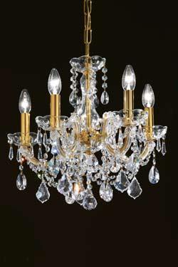 Lustre cristal transparent et métal doré 5 lumières. Masiero.