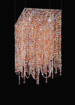 Lustre en cristal rose et orange section carrée. Masiero.