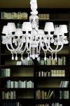 Lustre verre Murano blanc 8 lumières. Masiero.