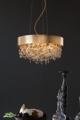 Large Ola pendant in gold-plated metal with gold leaf. Masiero.