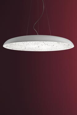 Large round and flat pendant with decorated diffuser Deco S1 90cm white. Masiero.