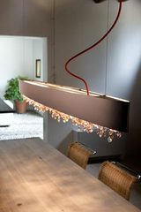 Long suspension Ola in matt bronze lacquered metal. Masiero.