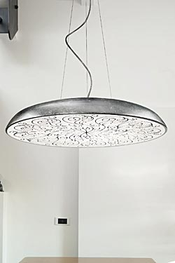 Round and flat pendant with decorated diffuser Deco S1 60cm black. Masiero.