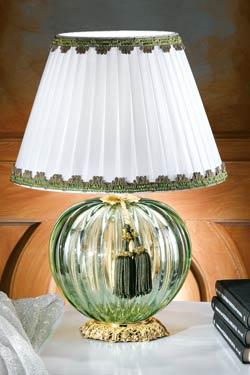 Petite lampe verre Murano vert abat-jour blanc. Masiero.