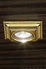 Square grooved gold-plated recessed spotlight. Masiero.