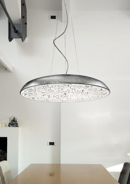 suspension ronde et plate avec diffuseur d cor deco s1 60cm noire r f 13110318. Black Bedroom Furniture Sets. Home Design Ideas