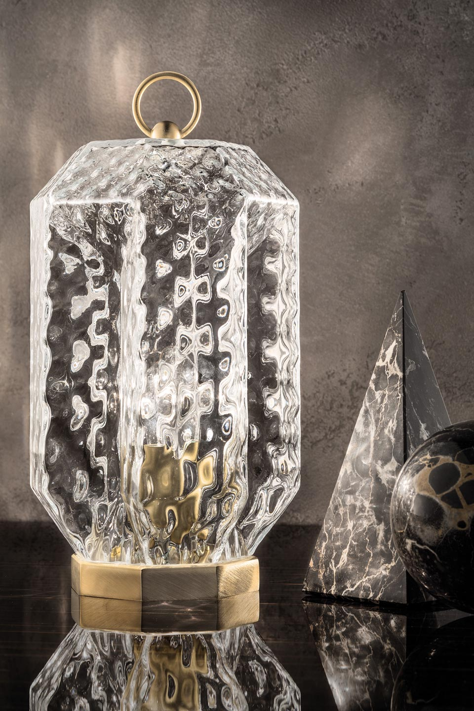 Blown glass lantern lamp. Masiero.