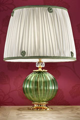 Green Murano glass table lamp with green silk taffeta shade . Masiero.