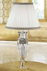 Table lamp in engraved clear crystal with white and grey fabric. Masiero.