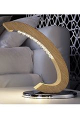 Table lamp in solid oak and crystal Libe TL. Masiero.
