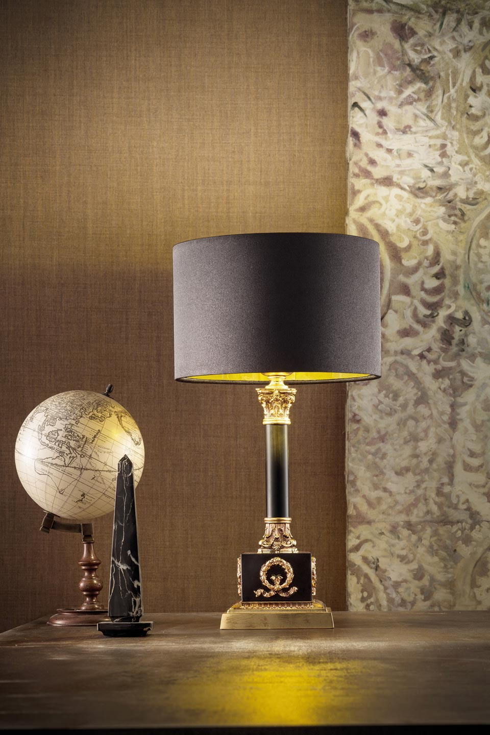 Table Lamp 1 Light Black And Gold Masiero Murano And Crystal Chandeliers Lamps And Wall Lights Ref 20020133