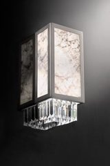Art Deco wall lamp in crystal and Carrara marble. Masiero.